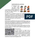 Clasificación de Las Rocas