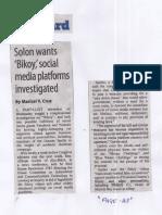Manila Standard, May 30, 2019, Solon wants Bikoy social media platforms investigated.pdf