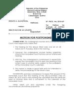 Motion for Postponement -Alcantara