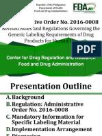 AO 2016 0008 Revised Labeling Presentation
