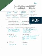 math 3 unit 4 reivew key pt 2 - quadratics and polynomials