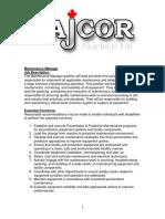 Dajcor Maintenance Manager Job Description