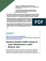 Muslim Brotherhood CAIR Sues OK