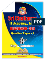 JEE Advanced 2019 Paper 1 Sri Chaitanya Answer Key Solutions (1)