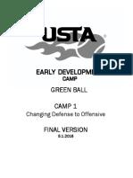 Camp 1 Tennis Green Defense Player Curriculum