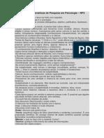 Resumo de Temáticas de Pesquisa Em Psicologia Resumo Np2