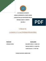 Unidad III La Banca y La Actividad Financiera