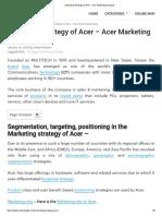 Marketing Strategy of Acer - Acer Marketing Analysis