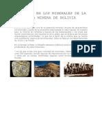 Sulfuros en Los Minerales de La Zona Minera de Bolivia