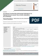 ¿Es efectiva la entrevista motivacional individual en la malnutrición por exceso_ Una revisión sistemática de la literatura