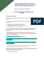 3.- Instrucciones Para Presentar El Examen Final 1S19...