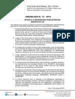 COMUNICADO PNP N° 27 - 2019