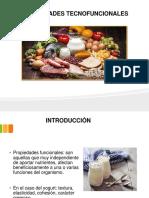 Propiedades tecno funcionales en los alimentos
