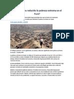 Cuánto Se Ha Reducido La Pobreza Extrema en El Perú