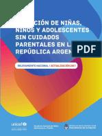 Situación de Niños, Niñas y Adolescentes Sin Cuidados Parentales en Argentina