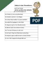 Schreibe Die Satze in Der Pluralform Arbeitsblatter
