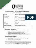 Bkf3472 - Chem. Reaction Engineering II 21616-2