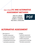 Authentic and Alternative Assessment Methods