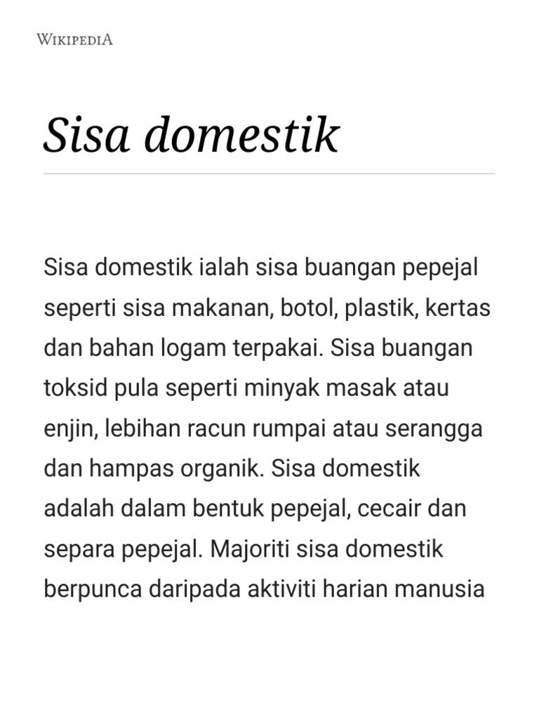 Sisa Domestik Wikipedia Bahasa Melayu Ensiklopedia Bebas Pdf