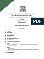 Silabo de Quimica Inorganica - Ingenieria Química 2018 - 2