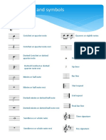 Symbols sheet for music