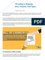 Bill of Lading in Shipping