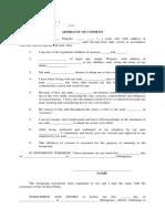 Affidavit of Consent BLANK