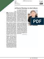 """Il Nobel Hunt al meeting """"Le due Culture"""" - Il Mattino del 31 maggio 2019"""