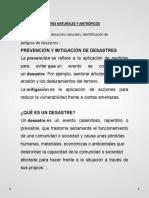 PREVENCION Y MITIGACION DE DESASTRES