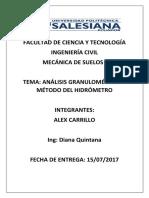 Analisis Granulometrico Por Hidrometro