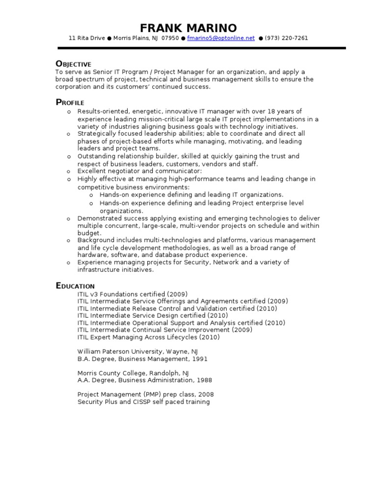 Frank marino resume updated oct 2010 itil ibm notes 1betcityfo Image collections