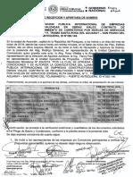 Acta de Apertura de Sobres LPI tramo Santa Rosa del Aguaray - San Pedro del Ycuamandiyú - Puerto Antequera