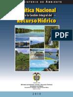 Politica Nacional Gestion Integral de Recurso Hidrico