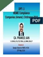 CompanyAmendmentOrdinance,DPT 3,MSME Sangrur