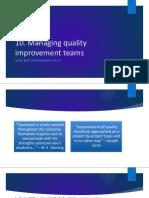 10. Managing Quality Improvement Teams
