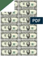 Dollar Bills Twenty Sheet