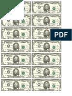 Dollar Bills Fives Sheet