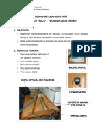 INFORME N°3 LABORATORIO FÍSICA I - PÉNDULO FISICO Y TEOREMA DE STEINER