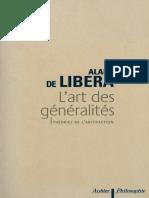 Alain de Libera Lart Des Generalites