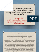 Removal of Lead(Pb) and Copper(Cu) from waste water using low cost agricultural absorbent