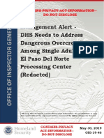 Management Alert - DHS Needs to Address Dangerous Overcrowding Among Single Adults at El Paso Del Norte Processing Center
