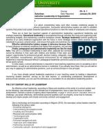 Adminstrative Leadership Report Outline