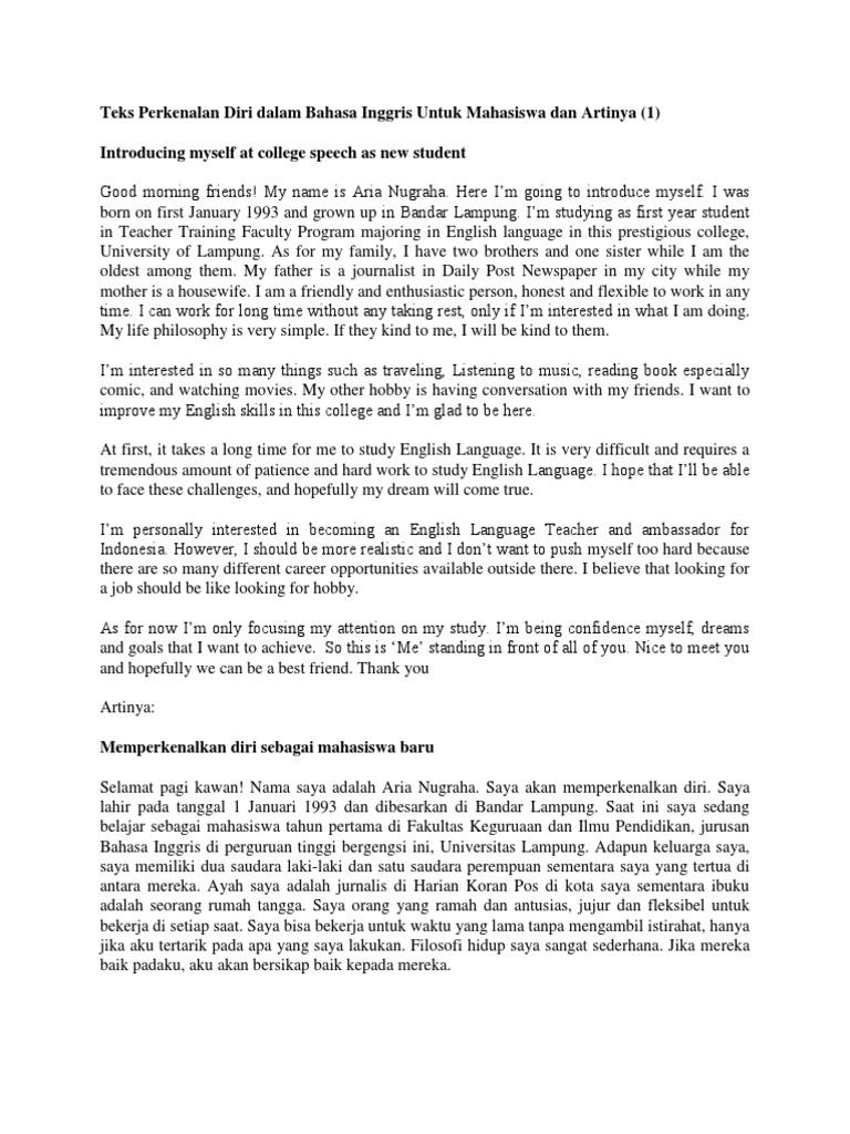 Teks Perkenalan Diri Dalam Bahasa Inggris Untuk Mahasiswa Dan Artinya Indonesian Language