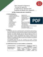Syllabus Tecnología Del Concreto UNC
