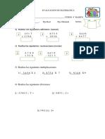 Evaluacion de Matematica 4 Basico