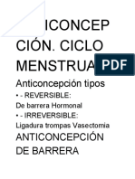 Anticoncepción. Ciclo Menstrual