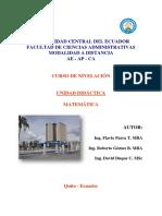 Unidad Didáctica - Matemática Nivelación