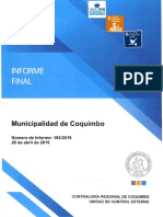 INFORME FINAL N° 192-19 MUNICIPALIDAD DE COQUIMBO SOBRE AUDITORÍA AL PRÉSTAMO DE REVITALIZACIÓN DE BARRIOS E INFRAESTRUCTURA PATRIMONIAL EMBLEMATICA - ABRIL 2019