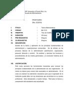 Prontuario BA 1313 -Teoría Administrativa Rev. Feb. 2018 Online
