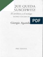 Agamben, Lo Que Queda de Auschwitz. El Archivo y El Testigo. Homo Sacer III